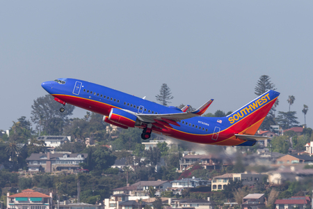 San Diego, California, USA - April 30, 2013. Southwest Airlines Boeing 737-7H4 N720WN departing San Diego International Airport. Stock Photo - 98564602