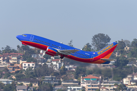 San Diego, California, USA - April 28, 2013. Southwest Airlines Boeing 737-3G7 N691WN departing San Diego International Airport. Editorial