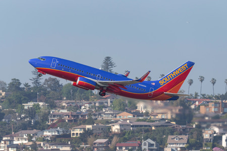 San Diego, California, USA - April 30, 2013. Southwest Airlines Boeing 737-7H4 N458WN departing San Diego International Airport. Stock Photo - 98564605