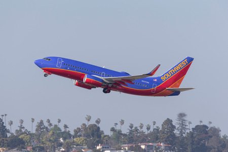 San Diego, California, USA - April 30, 2013. Southwest Airlines Boeing 737-7H4 N237WN departing San Diego International Airport.