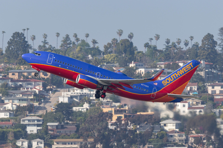 San Diego, California, USA - April 28, 2013. Southwest Airlines Boeing 737-7BD N7732A departing San Diego International Airport.