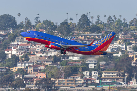 San Diego, California, USA - April 30, 2013. Southwest Airlines Boeing 737-7H4 N948WN departing San Diego International Airport. Editorial