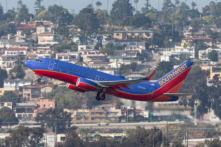 San Diego, California, USA - April 30, 2013. Southwest Airlines Boeing 737-7H4 N921WN departing San Diego International Airport. Editorial