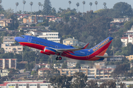 San Diego, California, USA - April 30, 2013. Southwest Airlines Boeing 737-7H4 N908WN departing San Diego International Airport. Stock Photo - 98564622