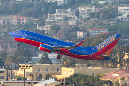 San Diego, California, USA - April 30, 2013. Southwest Airlines Boeing 737-7H4 N920WN departing San Diego International Airport.