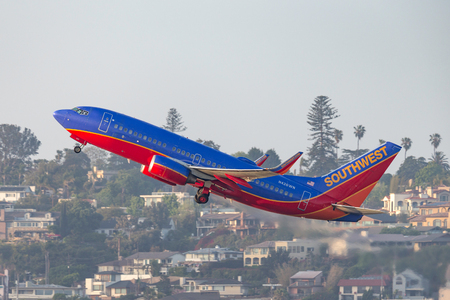 San Diego, California, USA - April 30, 2013. Southwest Airlines Boeing 737-7H4 N426WN departing San Diego International Airport.