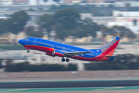 San Diego, California, USA - April 28, 2013. Southwest Airlines Boeing 737-3L9 N658SW departing San Diego International Airport.