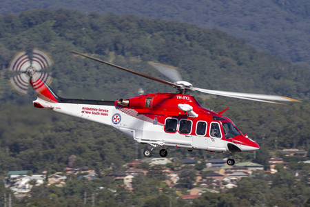 Albion Park, Australia - May 4, 2014: Ambulance Service of New South Wales AgustaWestland AW-139 VH-SYJ Air Ambulance Helicopter at Illawarra Regional Airport. Editorial