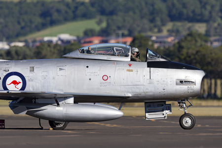 Albion Park, Australia - May 4, 2014: Former Royal Australian Air Force (RAAF) Commonwealth Aircraft Corporation CA-27 (North American F-86) Sabre jet aircraft at Illawarra Regional Airport.