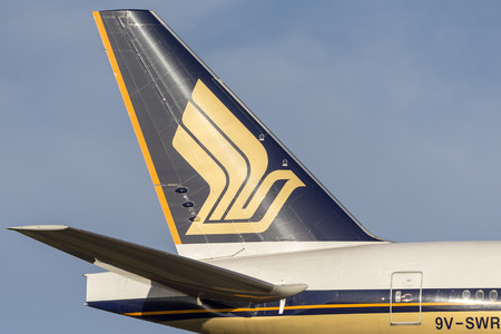 Melbourne, Australia - November 8, 2014: Singapore Airlines Boeing 777-300 (777-312ER) airliner 9V-SWR on approach to land at Melbourne International Airport.