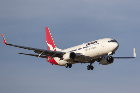 Melbourne, Australia - November 8, 2014: Qantas Boeing 737-838 VH-VYE on approach to land at Melbourne International Airport.