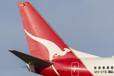 Melbourne, Australia - November 8, 2014: Tail of Qantas Boeing 737-838 VH-VYE.