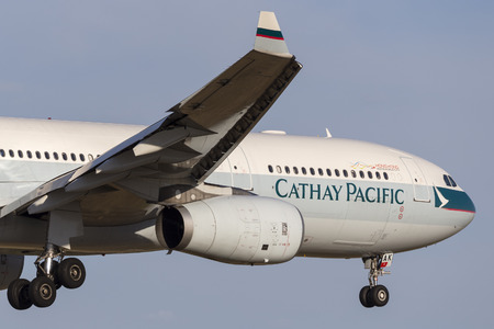 Melbourne, Australia - November 8, 2014: Cathay Pacific Airbus A330-343 airliner B-LAK on approach to land at Melbourne International Airport.