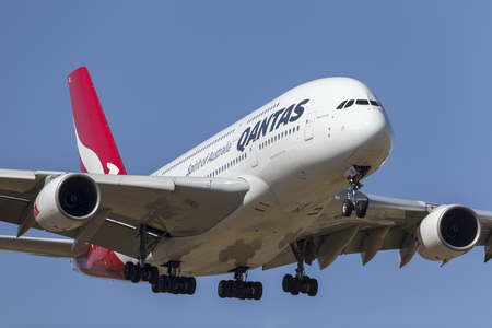 Melbourne, Australia - November 8, 2014: Qantas Airbus A380 VH-OQL on approach to land a Melbourne International Airport.
