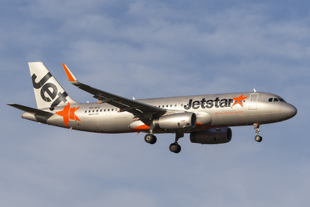 Melbourne, Australia - November 8, 2014: Jetstar Airways Airbus A320-232 VH-VFU on approach to land at Melbourne International Airport.