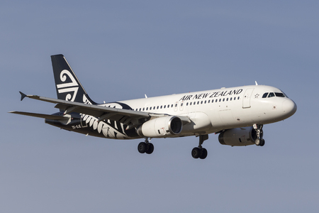 Melbourne, Australia - November 8, 2014: Air New Zealand Airbus A320-232 ZK-OJE on approach to land at Melbourne International Airport. Editorial