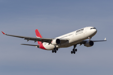 Melbourne, Australia - November 8, 2014: Qantas Airbus A330-303 airliner VH-QPF on approach to land at Melbourne International Airport.