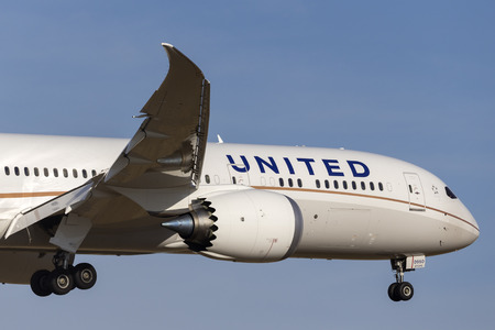 Melbourne, Australia - November 8, 2014: United Airlines Boeing 787-9 Dreamliner N38950 on approach to land at Melbourne International Airport. Editorial