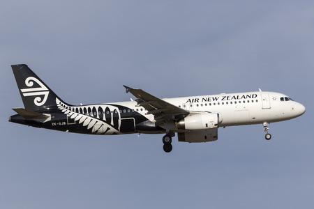 Melbourne, Australia - November 8, 2014: Air New Zealand Airbus A320-232 ZK-OJB on approach to land at Melbourne International Airport.