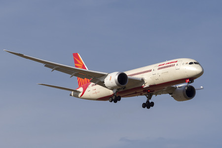 Melbourne, Australia - November 8, 2014: Air India Boeing 787-8 Dreamliner VT-ANO on approach to land at Melbourne International Airport.