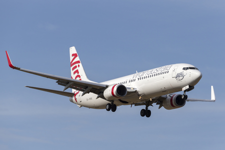 Melbourne, Australia - November 8, 2014: Virgin Australia Airlines (Virgin Pacific) Boeing 737 ZK-PBK on approach to land at Melbourne International airport. Editorial