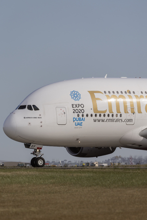Melbourne, Australia - November 8, 2014: Emirates Airbus A380-861 airliner A6-EEF on a taxiway preparing for takeoff from Melbourne International Airport.
