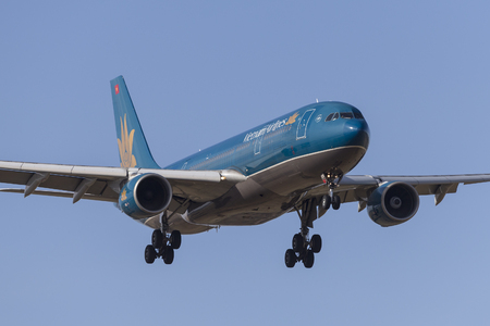 Melbourne, Australia - November 8, 2014: Vietnam Airlines Airbus A330-223 VN-A378 on approach to land at Melbourne International Airport.