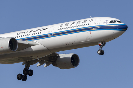Melbourne, Australia - November 8, 2014: China Southern Airlines Airbus A330-323 B-5939 on approach to land at Melbourne International Airport.