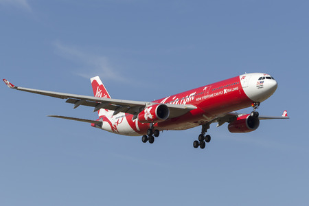 Melbourne, Australia - November 8, 2014: AirAsia X Airbus A330-343 9M-XXJ on approach to land at Melbourne International Airport.