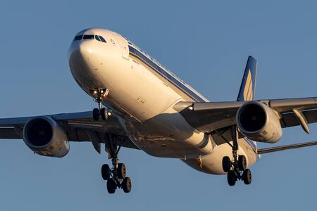Adelaide, Australia - June 10, 2013: Singapore Airlines Airbus A330-343 9V-STI on approach to land at Adelaide Airport.
