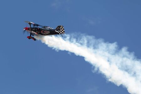 Avalon, Australia - March 2, 2013: Skip Stewart flying his highly modified Pitts S-2S biplane Prometheus Editorial