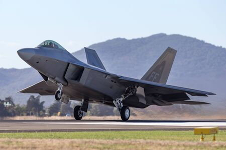 Avalon, Australia - March 1, 2013: United States Air Force (USAF) Lockheed Martin F-22A Raptor fifth-generation, single-seat, twin-engine, stealth tactical fighter aircraft.