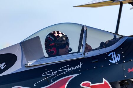 Avalon, Australia - March 1, 2013: Skip Stewart flying his highly modified Pitts S-2S biplane Prometheus