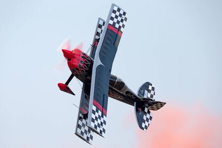 Avalon, Australia - February 26, 2013: Skip Stewart flying his highly modified Pitts S-2S biplane Prometheus