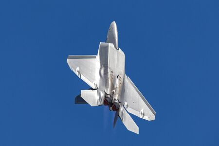 Avalon, Australia - March 3, 2013: United States Air Force (USAF) Lockheed Martin F-22A Raptor fifth-generation, single-seat, twin-engine, stealth tactical fighter aircraft. Editorial