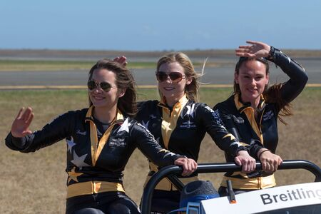 Avalon, Australia - March 2, 2013: Breitling Wing Walkers Danielle Hughes, Freya Paterson and Sarah Tanner. 報道画像