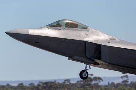 Avalon, Australia - March 2, 2013: United States Air Force (USAF) Lockheed Martin F-22A Raptor fifth-generation, single-seat, twin-engine, stealth tactical fighter aircraft.