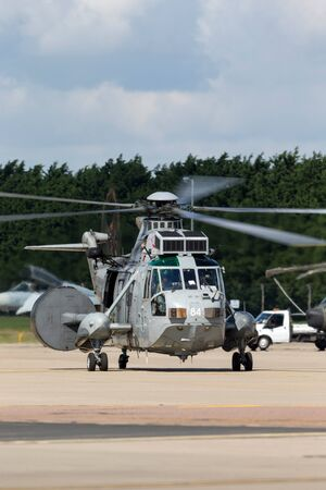 RAF Waddington, Lincolnshire, UK - July 5, 2014: Royal Navy Fleet Air Arm Westland Sea King ASaC.7 airborne early warning and control Helicopter XV707. Editorial