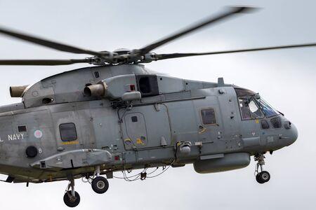 RAF Waddington, Lincolnshire, UK - July 5, 2014: Royal Navy Fleet Air Arm AgustaWestland Merlin HM.1 (EH101) Anti-Submarine Warfare Helicopter ZH858.