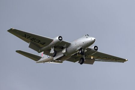 RAF Waddington, Lincolnshire, UK - July 7, 2014: Former Royal Air Force English Electric Canberra PR.9 photographic reconnaissance aircraft G-OMHD operated by Midair Squadron.
