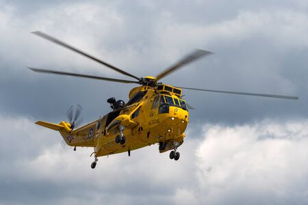 RAF Waddington, Lincolnshire, UK - July 5, 2014: Royal Air Force Westland Sea King HAR3 search and rescue helicopter XZ595 from 202 squadron based at RAF Valley. Editorial