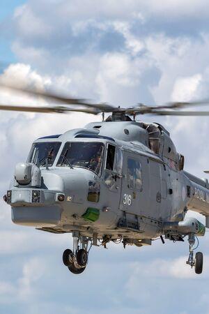RAF Waddington, Lincolnshire, UK - July 7, 2014: Royal Navy Fleet Air Arm Westland Lynx HMA.8 (WG-13) Anti Submarine Warfare Helicopter XZ726.