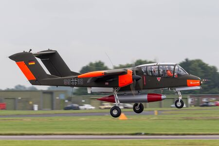 RAF Waddington, Lincolnshire, UK - July 6, 2014: Former German Air Force (Luftwaffe) North American (Rockwell) OV-10B Bronco twin engined counter insurgency (COIN) and forward air control (FAC) aircraft.