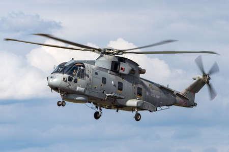 RAF Fairford, Gloucestershire, UK - July 14, 2014: Royal Navy AgustaWestland Merlin HM.2 (EH101) Anti-Submarine Warfare Helicopter.