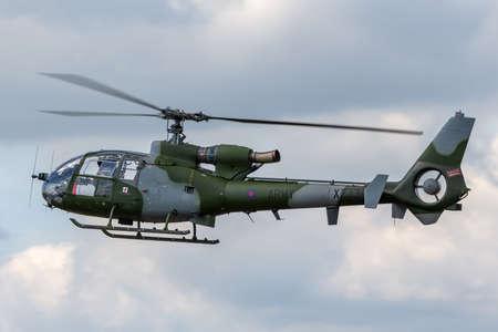 RAF Fairford, Gloucestershire, UK - July 11, 2014: British Army (Army Air Corps) Westland Gazelle AH.1 Helicopter XZ334.