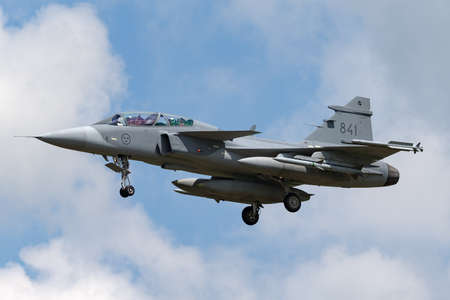 RAF Fairford, Gloucestershire, UK - July 9, 2014: Swedish Air Force Saab JAS-39D Gripen multirole fighter aircraft 39841.