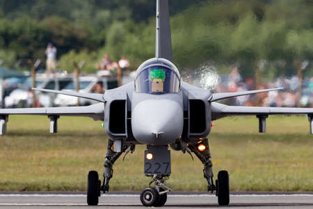 RAF Fairford, Gloucestershire, UK - July 13, 2014: Swedish Air Force Saab JAS-39C Gripen multirole fighter aircraft 39227.