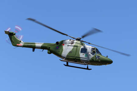 RAF Fairford, Gloucestershire, UK - July 10, 2014: Westland Lynx AH.7 Helicopter XZ184 of the British Army Air Corps.