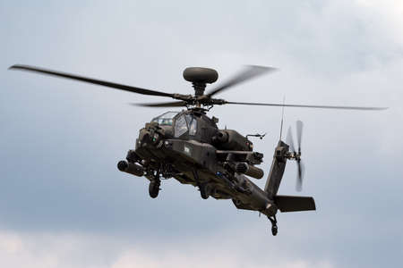 RAF Fairford, Gloucestershire, UK - July 13, 2014: AgustaWestland WAH-64D Apache AH1 Attack helicopter ZJ 172 of the British Army Air Corps.