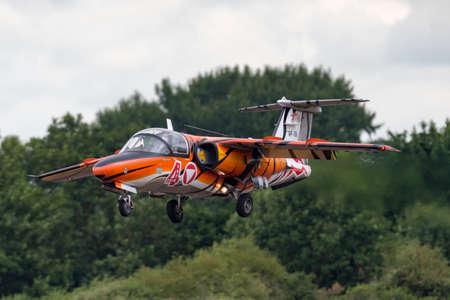 RAF Fairford, Gloucestershire, UK - July 13, 2014: Austrian Air Force (Österreichische Luftstreitkräfte) Saab 105 jet trainer aircraft.